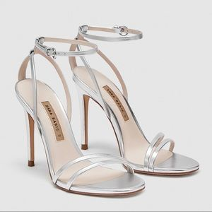 Zara Silver High Heel Strappy Sandals
